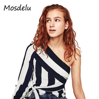 Mosdelu One Shoulder Top Designer Striped Shirt Women Blouses Elegant Work Long Sleeve Off Shoulder Womens