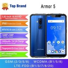 Android 8,1 4 GB 64 GB телефон Беспроводной зарядки Face ID Водонепроницаемый IP68 NFC 5,85 «HD Мобильный телефон Otca-core Ulefone Броня 5 5000 mAh