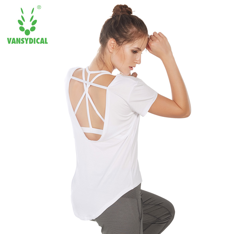 Women Shirt Backless Yoga Short Sleeve  Sports Tops Activewear Sexy Quick Dry Sportswear Plus Size