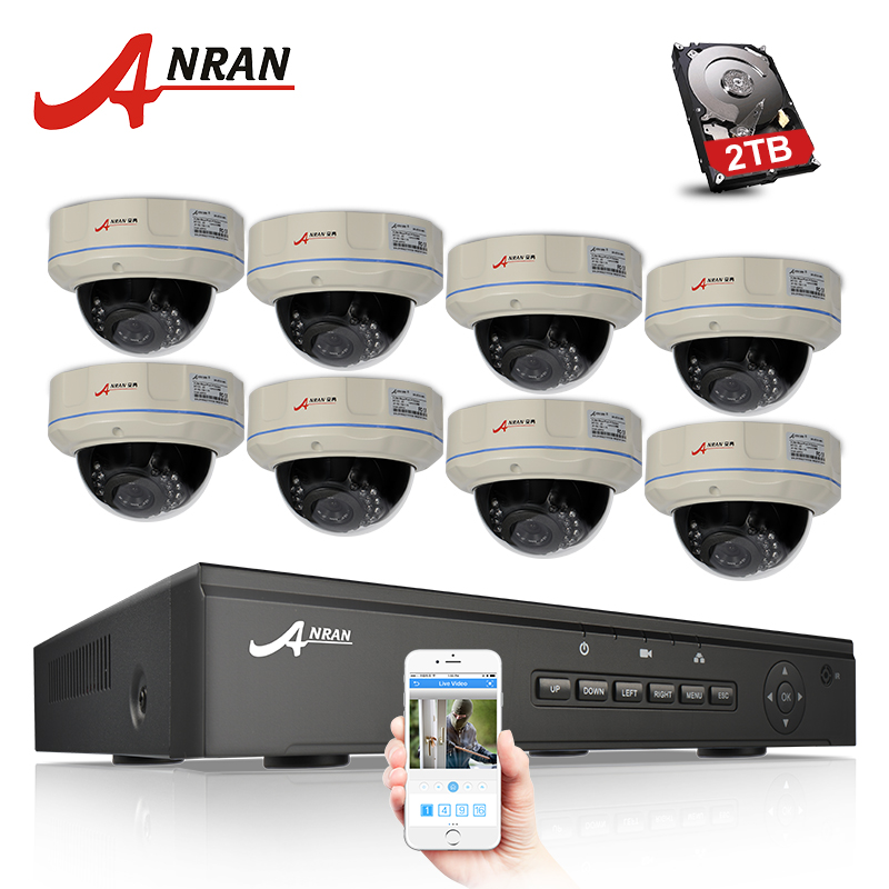 ANRAN 8CH CCTV System 48V POE NVR Kit 1080P HD Dome Waterproof Night Vision IR Email Alarm Security IP POE Camera Set 1TB HDD