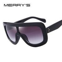 MERRY'S Moda Kadın Güneş Kare Gözlük Vintage Büyük Çerçeve Entegre Gözlük S'8017