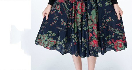 2018 new spring and autumn Fashion casual loose plus size Stretch waist linen female women girls empire skirts clothes 79135