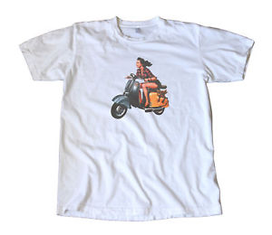 Vintage Girl On a Vespa Scooter Decal T-Shirt - Mod