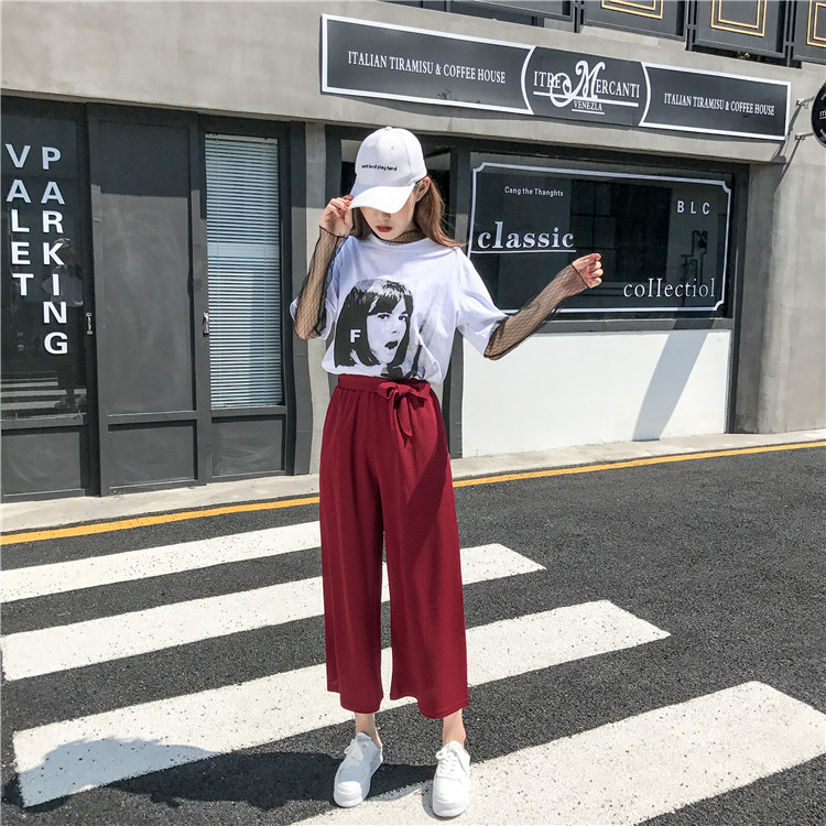 19 Women Casual Loose Wide Leg Pant Womens Elegant Fashion Preppy Style Trousers Female Pure Color Females New Palazzo Pants 63
