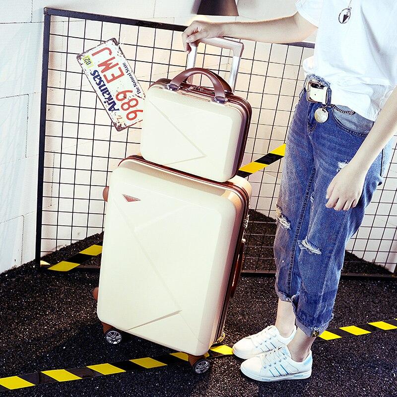 Оптовая продажа! 14 20 дюймов розовый/зеленый/фиолетовый/бежевый ABS Hardside путешествия багажные сумки на Универсальный колеса для молодых девуш...