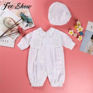 Image 1 - Dla dzieci chłopcy chrzciny strój niemowlę chłopiec ślub urodziny Romper kamizelka kapelusz Gentleman formalne garnitury chłopców chrzest Baby Boy ubrania
