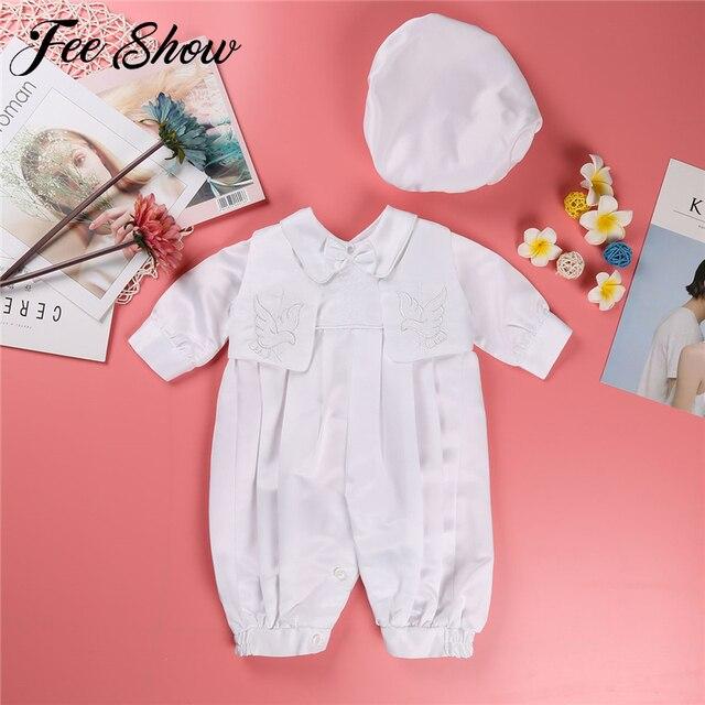 Dla dzieci chłopcy chrzciny strój niemowlę chłopiec ślub urodziny Romper kamizelka kapelusz Gentleman formalne garnitury chłopców chrzest Baby Boy ubrania