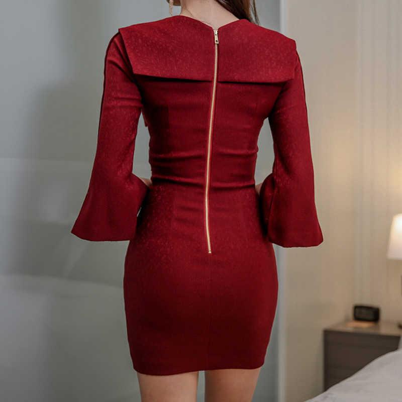 Сексуальное красное платье с v-образным вырезом, разрез до талии, рукав-клеш, облегающие вечерние платья, женское офисное платье, приталенная короткая мини-платье vestidso femininas