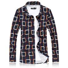 2019 New Autumn Casual Plaid Shirt Men Luxury Brand Shirt Male Long Sleeve Mens Dress Shirts Plus Size 6XL 7XL Top Quality