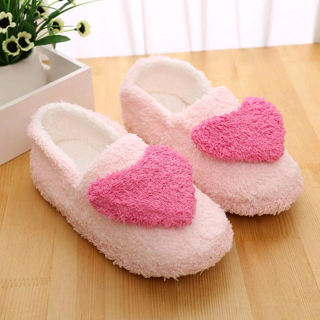 Women Love House Slippers 2017 hot  Plush Warm Home Slippers Thermal Indoor Slipper for Autumn Winter Soft Sole Shoes