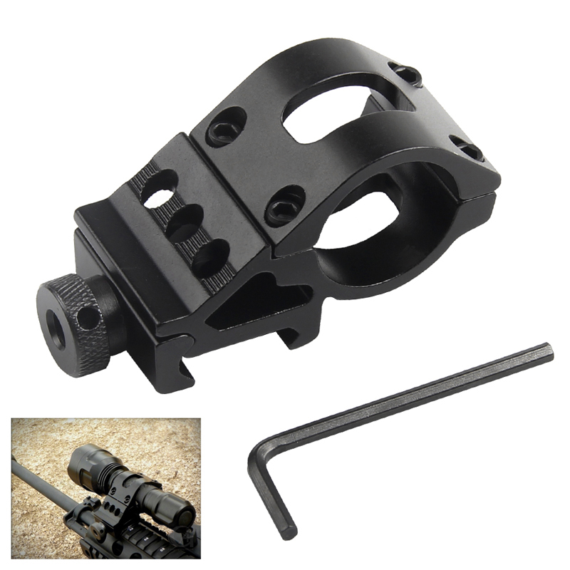 Airsoft Ring Rail Mount Offset Ring Side Gun Torch Mount For Flashlight Laser / Rifle Scope Mount Fit 20mm Rail HT2-0002