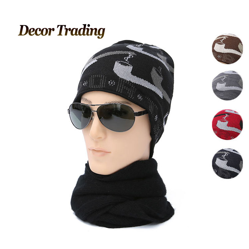 Men's Skullies Winter Wool Knitted Hat Male Brand Beanies Cap Casual Velvet Headgear Hats For Men bonnet wool skullies cap hat 10pcs lot 2289