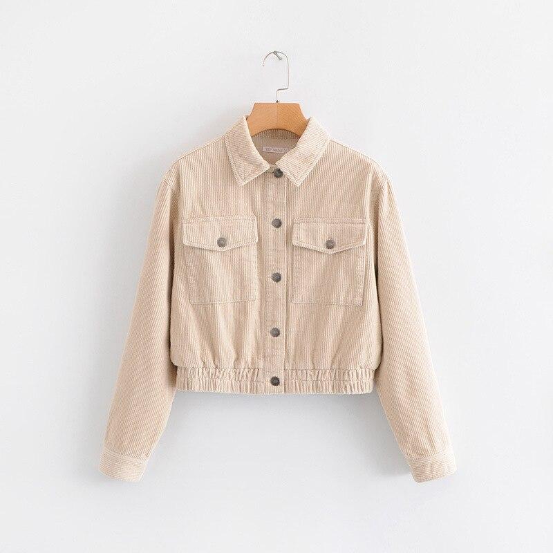 WT858 European Brief Elastic Bottom Pockets Deco Corduroy Jacket Women Spring Outwear Coat