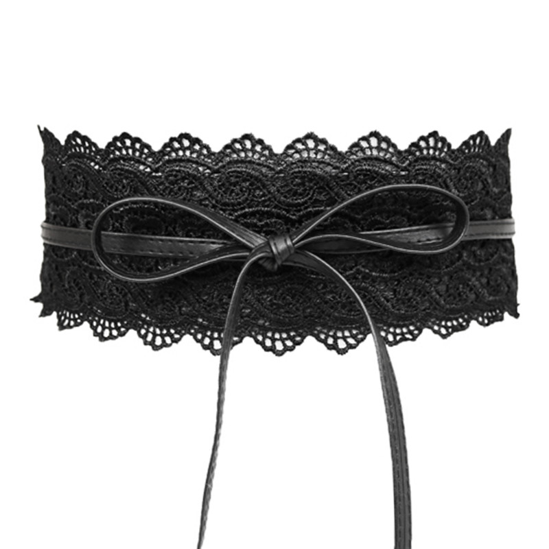 Black Lace Wide Belts For Women  Summer Faux Leather Elastic Waist Belts Cummerbund Ladies Corset Belts High Quality Harness