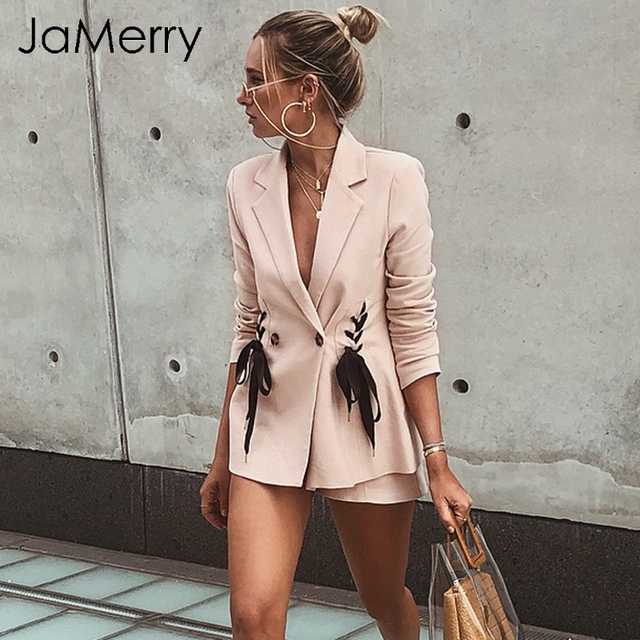 JaMerry Turn down collar double breasted blazer women Lace up elegant pink blazer autumn coat OL suit coat outwear blazer female