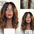 Corto ombre cordón del pelo humano peluca llena del cordón dos tonos #1BT30 peluca delantera brasileña rubio corto ondulado sin cola llena del cordón del pelo humano