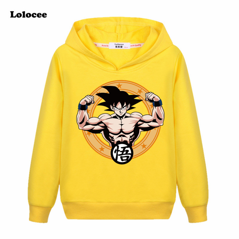 3-13y Children Clothes Japan Son Goku Anime Dragon Ball Z Kids Hooded Sweatshirts Cartoon Super Saiyan Boys Girls T shirt Tees