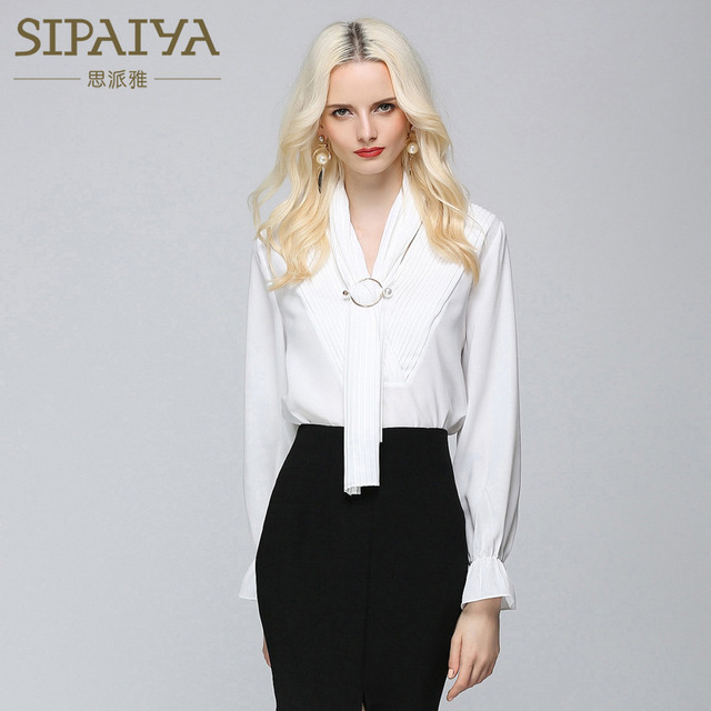 SIPAIYA Korean White Women Chiffon Blouses Flare Sleeve OL Blouse Shirt Women Top Blusas Female Drapped Bow Collar With Sequined