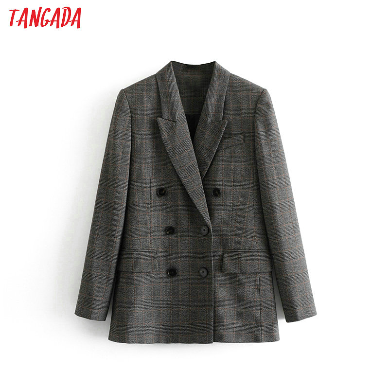 Tangada Women Checked Double Breasted Suit Jacket Designer Blazer New Arrival Women Pockets Work Wear Utwear 3H33