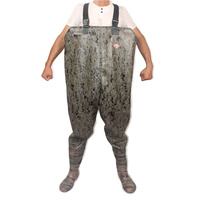 Camouflage One Piece Fishing Waders 0.85mm Thick PVC Digital Camouflage Over Chest Seamless Welding Clothes+Boots Fishing Waders