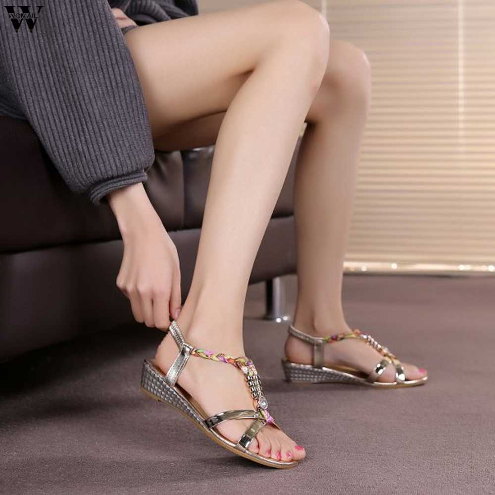 Shoes Sandals Fashion Women Beaded Sandals Summer Shoes Party Sexy Pearl Flat Bottom new shoes woman 2019 Mar15