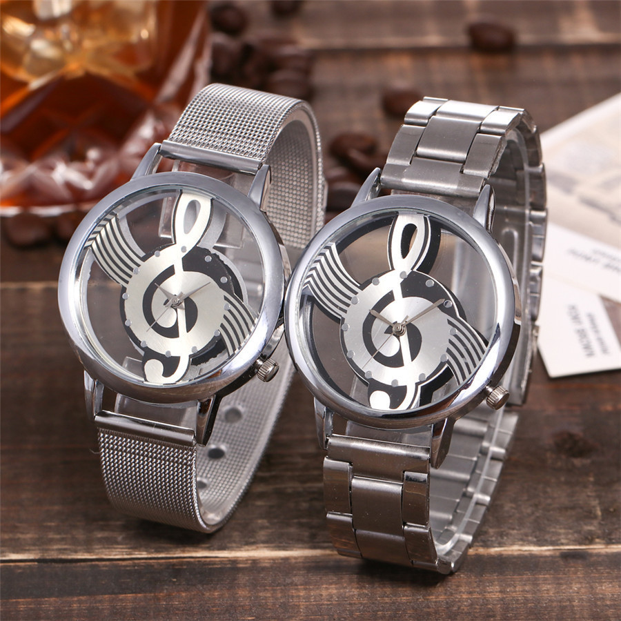 2018 New Luxury Brand Fashion and Casual Music Note Notation Watch Stainless Steel Wristwatch for Men and Women Silver Watches luxury brand binger new style watch round stainless steel fashion wristwatch for women automatic self watches tourbillon 1853