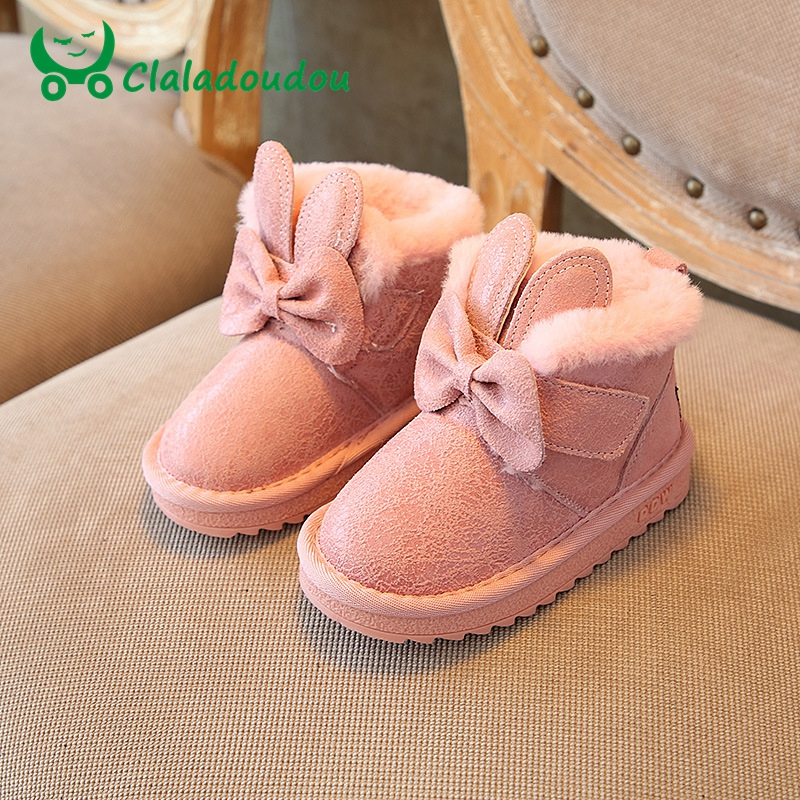 Claladoudou 13.5-18CM Children Snow Boots Kids Girls Warm Plush Genuine Leather Boots Toddler Girl Pink Brand Ankle Winter Shoes стоимость