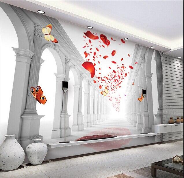 Custom 3D Wallpaper, European Style Romantic Wedding Hall