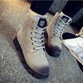 Outono e inverno botas de neve botas femininas de algodão-acolchoado sapatos de salto plana estilo britânico além de veludo espessamento lacing martin botas