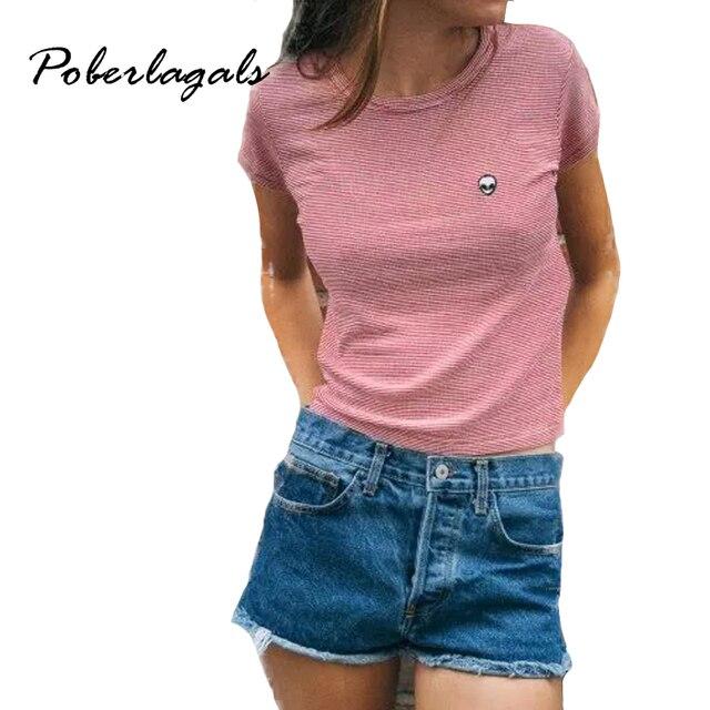 Мода Тонкий Эластичный Хлопок Полосой Чужеродных вышивка с коротким рукавом футболки 2017 летние короткие футболки женщины топы
