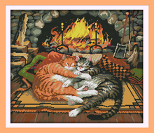 Sleeping Cat Patterns Counted Cross Stitch 11CT Printed 14CT Cross Stitch Sets Animals Cross Stitch Kits Embroidery Needlework