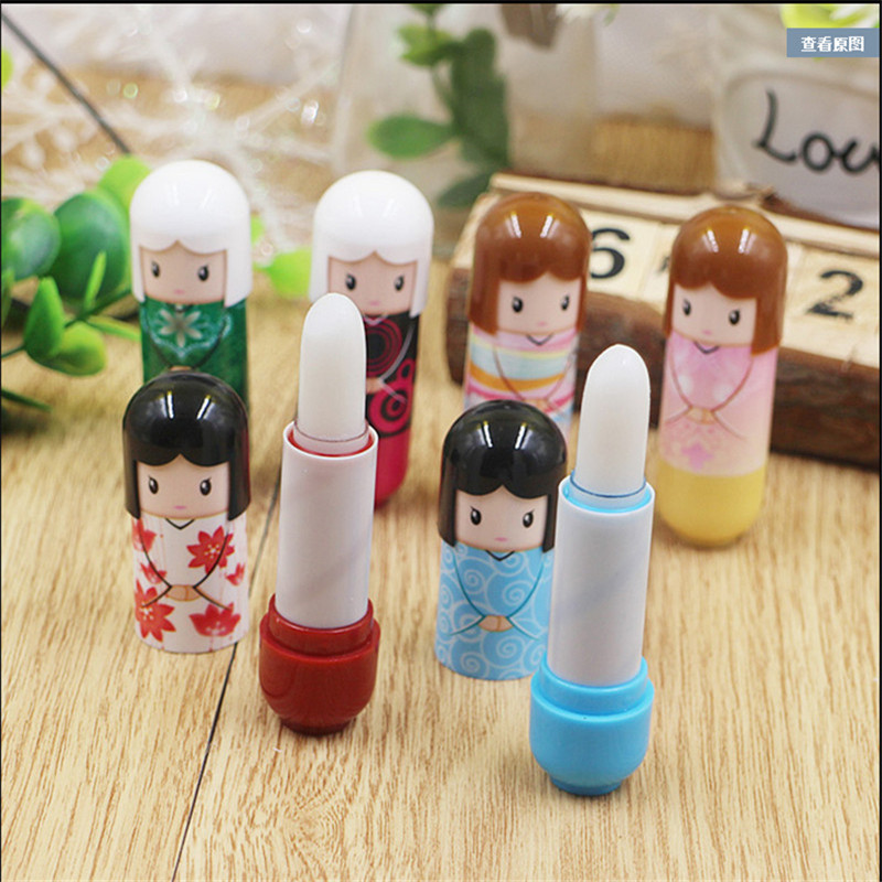6pcs/lot Fashion cute Waterproof Cartoon Kimono Doll Lip Balm Long Lasting Moisturizing Lipstick smackers Women Lips Makeup 2