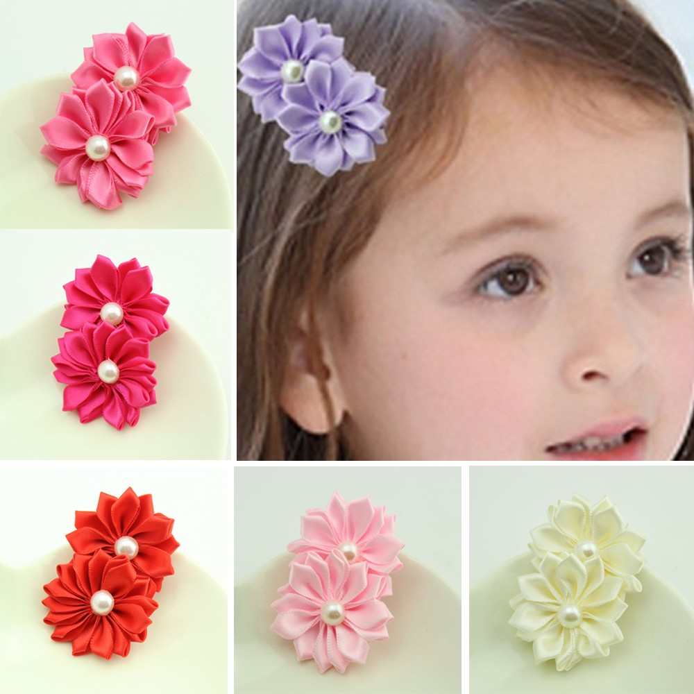 6PC/Lot Cute Fashion Girls Two Flowers Pearls Hairpins Kids Hair Clip Christmas Barrettes Hairpins Accessories 6 Colors 12 colors cute girls hairpins children elsa side knotted clip hairpin hair clip small size hair accessories