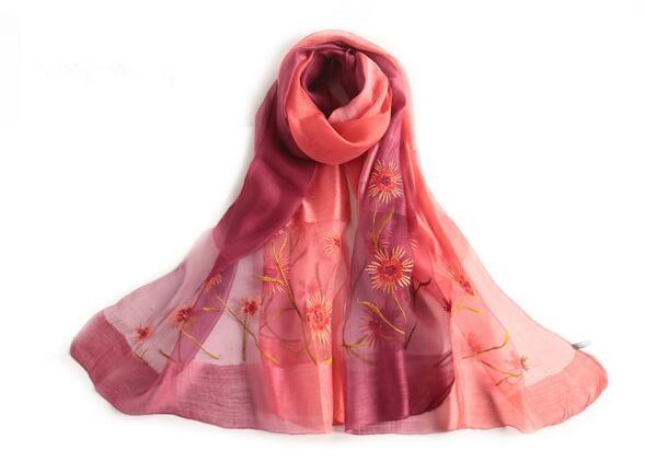 Summer fashion women silk flower gradient scarf