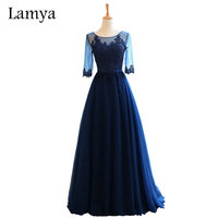 Lamya Long A Line Elegant Evening Party Dresses Real Photo Vintage Half Sleeve Lace Fromal Dress