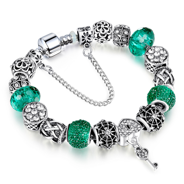 2018 Hot Sale New Silver Charm pandora Bracelets for women With Exquisite KEY Pendant GREEN crystal Bracelets Jewelry