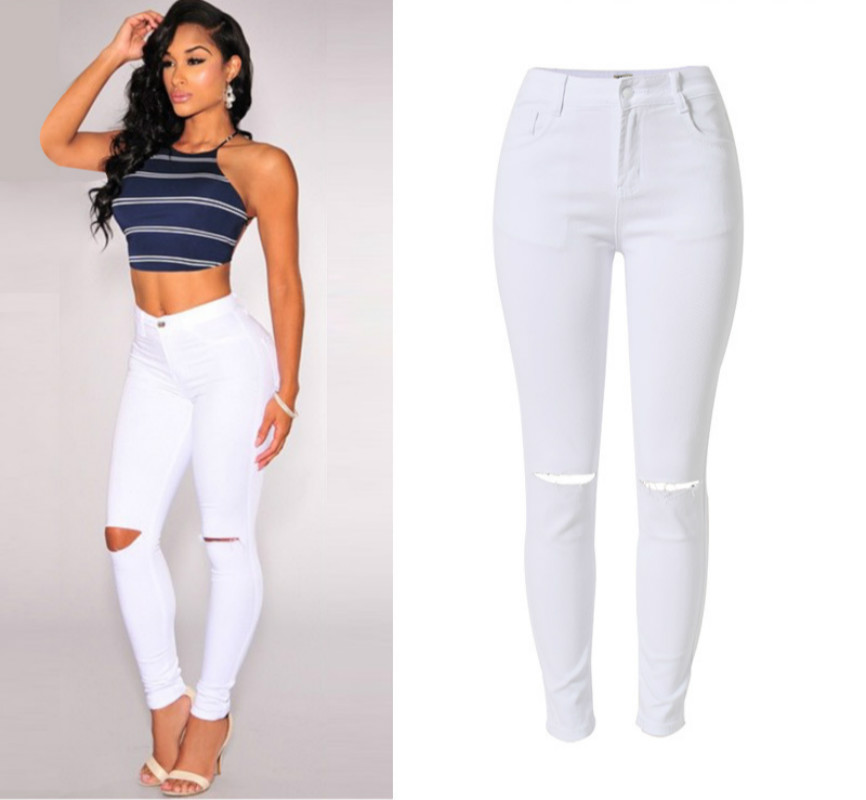 Knee Hole White Cotton Trousers Feminina High Waist Stretch Skinny Jeans Femme Push Up Ripped Jeans Women Sexy Pantalon Femme high waist jeans women soft hole ripped skinny slim stretch denim jeans for girl push up jeans ankle length camisa feminina
