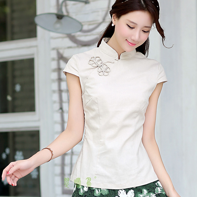 e3b6f60ee Shanghai Story National chinese style top tradition chinese cheongsam top  traditional Chinese Top Women's Linen blouse