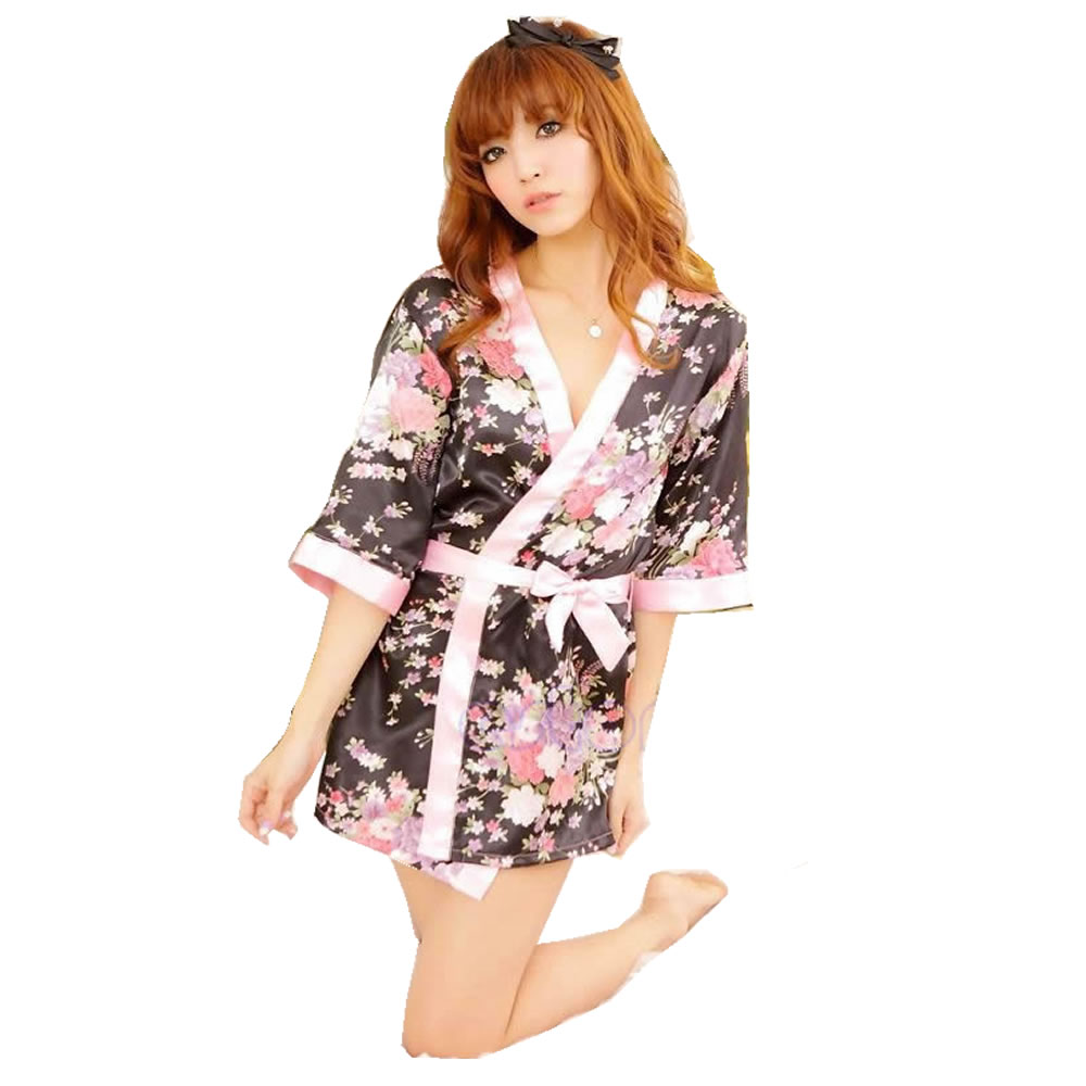 Sexy Womens Lingerie Sleepwear Robe Japanese Kimono Costume Nightgown Uniform