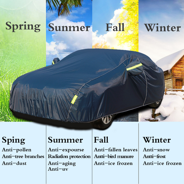Universal Full Car Covers Snow Ice Dust Sun UV Shade Cover Dark Blue Size 9 Sizes Auto Car Outdoor Protector Cover