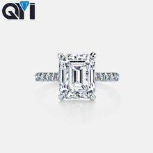 QYI 3 ct Emerald Cut 925 Sterling Silver Ring Classic Wedding Jewelry Cubic Zircon Rings For Women Bridesmaid Gifts