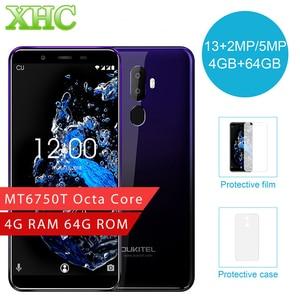 Image 1 - Oryginalny OUKITEL U25 Pro 4 GB + 64 GB linii papilarnych 5.5 cal smartfon Android 8.1 MTK6750T Octa Core Dual SIM LTE 4G OTG telefon komórkowy