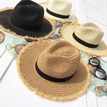 SUOGRY Summer Hats For Women Fringe Tassel Raffia Straw Hat With Black Ribbon Foldable Large Brim Sun Hat Men Beach Cap Panama chic black ribbon embellished summer straw hat for women