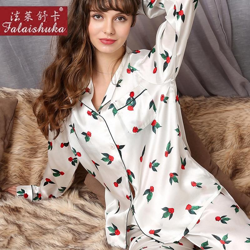 Natural Silk Woman Pajamas Red Rose Printed Long-Sleeve 100% SILK Sleepwear Female Two-Piece Silkworm Silk Pyjama Sets T8170