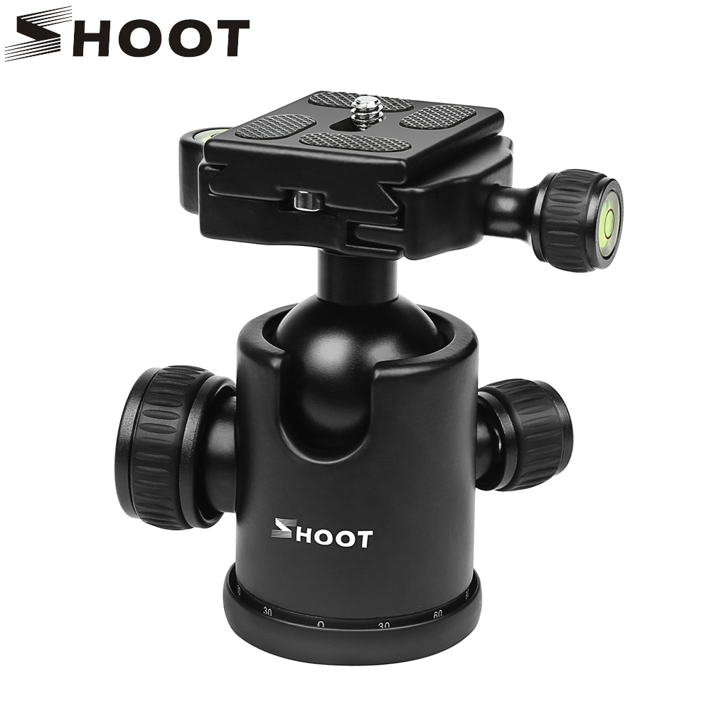 SHOOT Mini Camera Tripod Ball Head with Quick Release Plate 1/4 3/8 screw Max Load 10kg for Nikon Sony Canon DSLR Cam Tripod ashanks professional aluminum camera tripod mini portable monopod with ball head for dslr photography video studio load 10kg