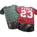 Side Zipper Plaid High Quality Star Look Man Hip Hop Hiphop Skakeboard Streetwear Swag Tshirt Tops Tees T-shirt Men Tyga Style
