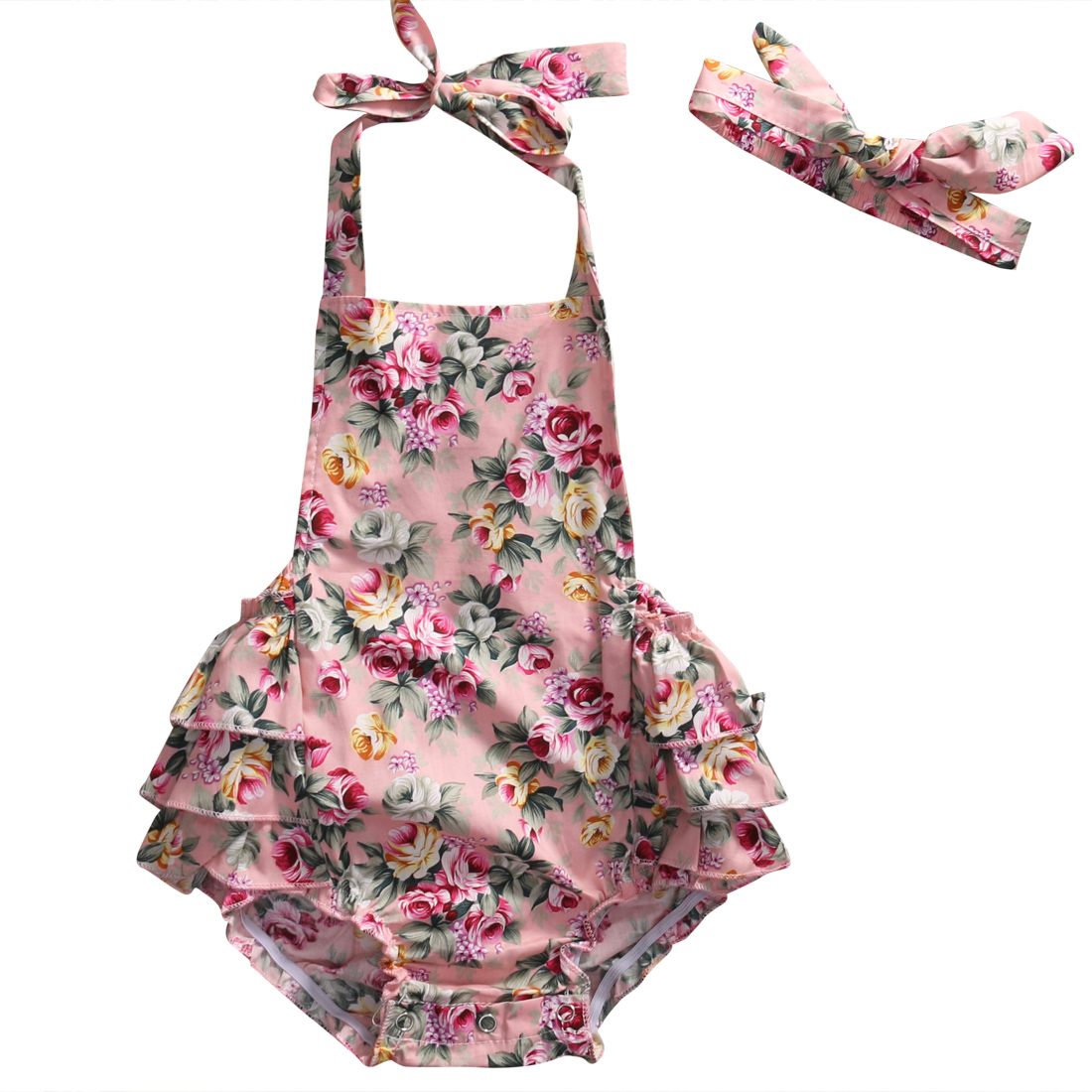 Backless Baby Girls Ruffled Rompers Floral Print Black Pink Romper Jumpsuit Headband Outfits Clothes Summer Children Clothing