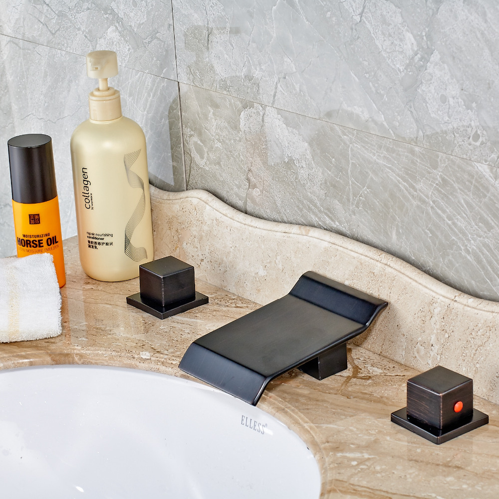 Uythner Modern Waterfall Spout Oil Rubbed Bronze Dual Handles Bathroom Faucet Mixer Tap Cold&Hot Water oil rubbed bronze bathroom tooth brush holder dual ceramic cups crystal holder