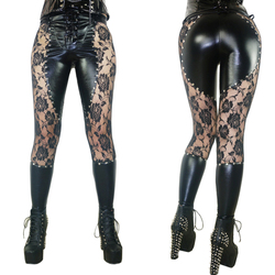 Womens Leggings 2017 Leather Lace Patchwork Fitness Leggins Punk Rock Sexy Floral Printed Lace Up Gothic Black Jeggings Pants