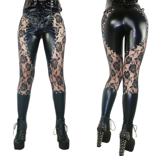 cb04061d375 Womens Leggings 2017 Leather Lace Patchwork Fitness Leggins Punk Rock Sexy  Floral Printed Lace Up Gothic Black Jeggings Pants